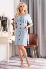 Niebieska Sukienka Szmizjerka z Krótkim Rękawem