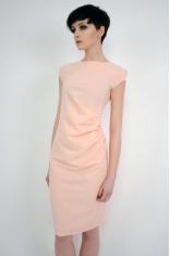 Różowa Wyjściowa Sukienka z Marszczeniami na Boku z Krótkim Rękawem