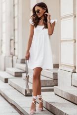 Krótka Sukienka na Szerokich Ramiączkach z Falbankami -  Kremowa