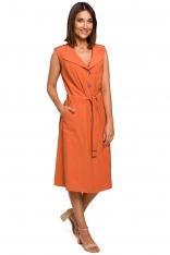 Pomarańczowa Sukienka Midi Typu Szmizjerka bez Rękawów