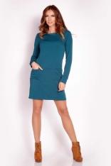 Zielona Prosta Sukienka z Wywijanym Golfem