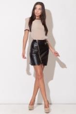Czarna Mini Spódnica z Długim Asymetrycznym Suwakiem