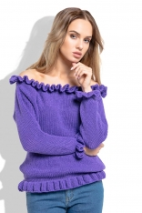 Fioletowy Sweter z Dekoltem Typu Carmen