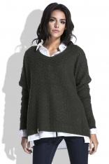 Oliwkowy Luźny Sweter z Dekoltem V