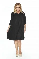 Czarna Sukienka Szyfonowa Luźna z Dekoltem V Plus Size