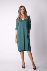 Zielona Luźna Dzianinowa Sukienka z Dekoltem w Szpic