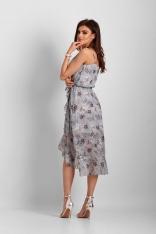 Niebieska Wzorzysta Asymetryczna Sukienka z Falbankami