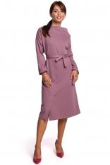Sukienka Dzianinowa Midi z Asymetrycznym Dekoltem - Wrzosowa