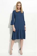 Granatowa Sukienka w Hiszpańskim Stylu z Wycięciem na Plecach