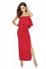 Elegancka Czerwona Maxi Sukienka w Hiszpańskim Stylu