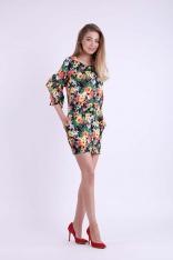 Kwiatowa Krótka Ołówkowa Sukienka z Ozdobnymi Falbankami