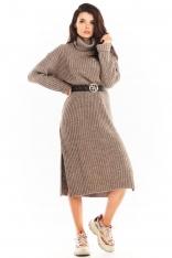 Swetrowa Sukienka z Golfem w Pionowe Prążki - Beżowa