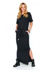 Czarna Maxi Sukienka w Sportowym Stylu
