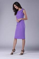Fioletowa Wizytowa Ołówkowa Sukienka z Zakładką na Ramionach