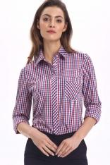 Klasyczna Koszula Damska z Krytym Zapięciem w Kratkę