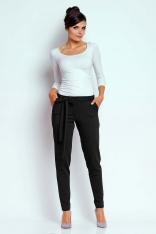 Czarne Stylowe Spodnie z Wiązaną Szarfą