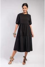 Czarna Ultrakobieca Sukienka Midi z Falbankami