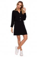 Bawełniana Sukienka z Kołnierzykiem - Czarna