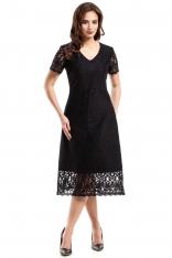 Czarna Elegancka Koronkowa Sukienka Midi z Krótkim Rękawem