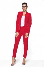 Czerwony Komplet Garnitur Spodnie Damski