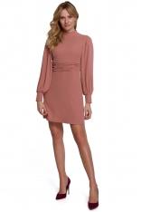 Rozkloszowana Sukienka z Drapowanym Paskiem - Różowa