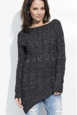Czarny Melanżowy Sweter z Ozdobnymi Warkoczami