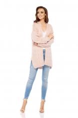 Pudrowy Miękki Sweter Bez Zapięcia
