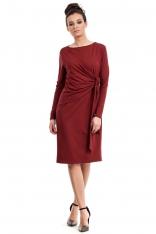 Bordowa Sukienka Elegancka z Asymetryczną Nakładką
