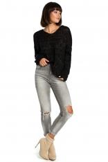 Czarny Klasyczny Sweter z Dekoltem V ze Złotą Nitką