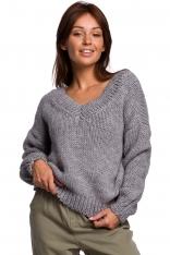 Klasyczny Sweter z Dekoltem V z Przodu i na Plecach - Szary