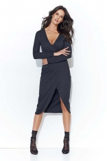 Grafitowa Asymetryczna Dzianinowa Midi Sukienka z Kopertowym Dekoltem