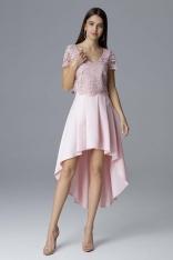 Różowa Dwuczęściowy Zestaw Koronkowa Bluzka + Asymetryczna Spódnica