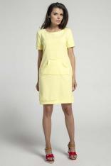Żółta Sportowa Sukienka z Kieszenią Kangurką