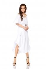 Biała Zwiewna Asymetryczna Sukienka z Koronkowym Paskiem