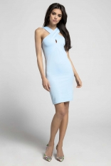 Błękitna Sukienka Bodycon z Przekładanym Dekoltem