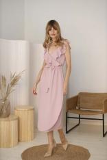 Długa Sukienka z Falbankami przy Dekolcie - Różowa