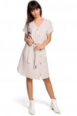 Beżowa Sukienka Szmizjerka z Krótkim Rękawem