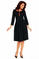 Czarna Elegancka Sukienka przed Kolano z Zakładkami