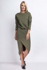 Khaki Casualowa Midi Sukienka z Kopertowym Dołem