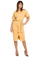Żółta Sukienka Midi z Rozcięciem na Przodzie