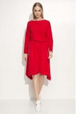 Czerwona Dresowa Sukienka z Dłuższymi Bokami