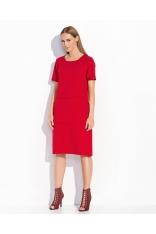 Czerwona Trapezowa Sukienka Midi z Kieszenią Kangurką