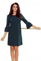 Zielona Sukienka Wizytowa z Koronką na Rękawie