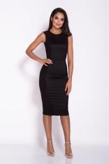 Czarna Ołówkowa Sukienka Koktajlowa z Ozdobnym Panelem