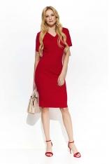 Czerwona Casualowa Luźna Sukienka z Falbanką