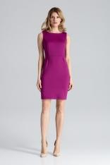 Modna Ołówkowa Sukienka Bez Rękawów w Kolorze Fuksji