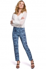 Eleganckie Spodnie Cygaretki w Kwiaty - Model 1