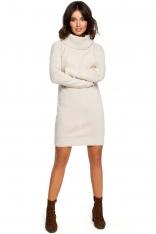 Beżowy Długi Sweter- Sukienka z Szerokim Golfem