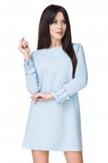 Błękitna Sukienka z Falbanką przy Rękawie