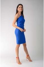 Kobaltowa Elegancka Ołówkowa Sukienka na Jedno Ramię
